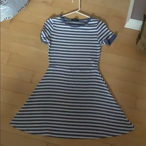 White and blue striped dress